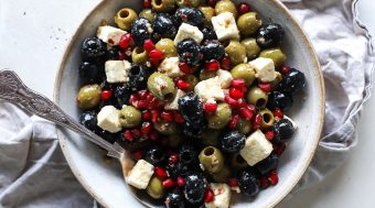 Olives Marinated with Garlic, Feta and Spicy Chilli